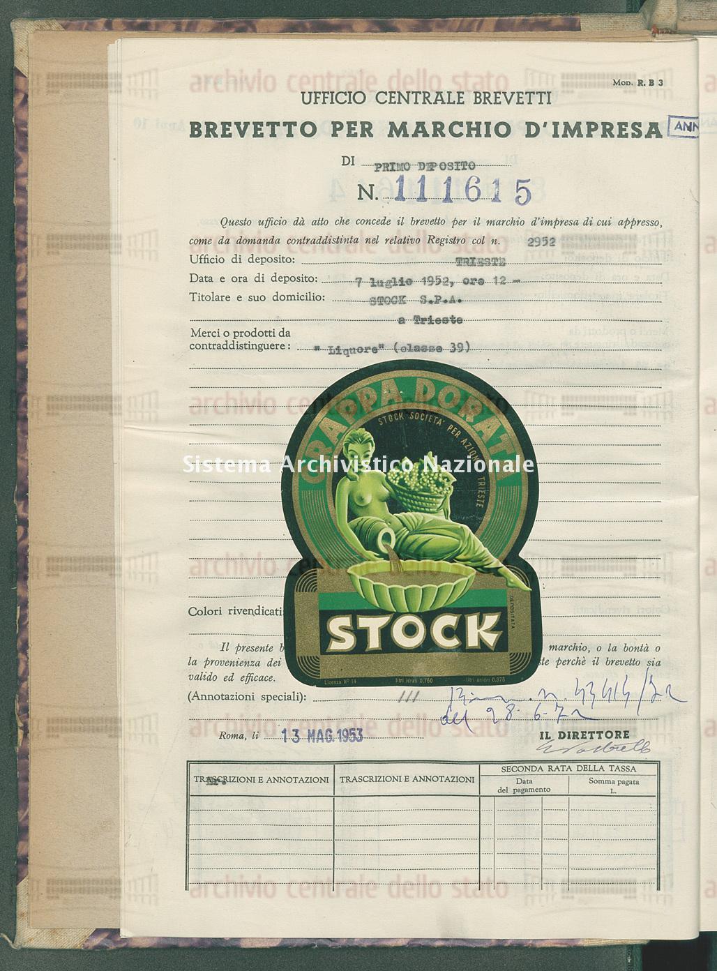 'Liquore' Stock S.P.A. (13/05/1953)