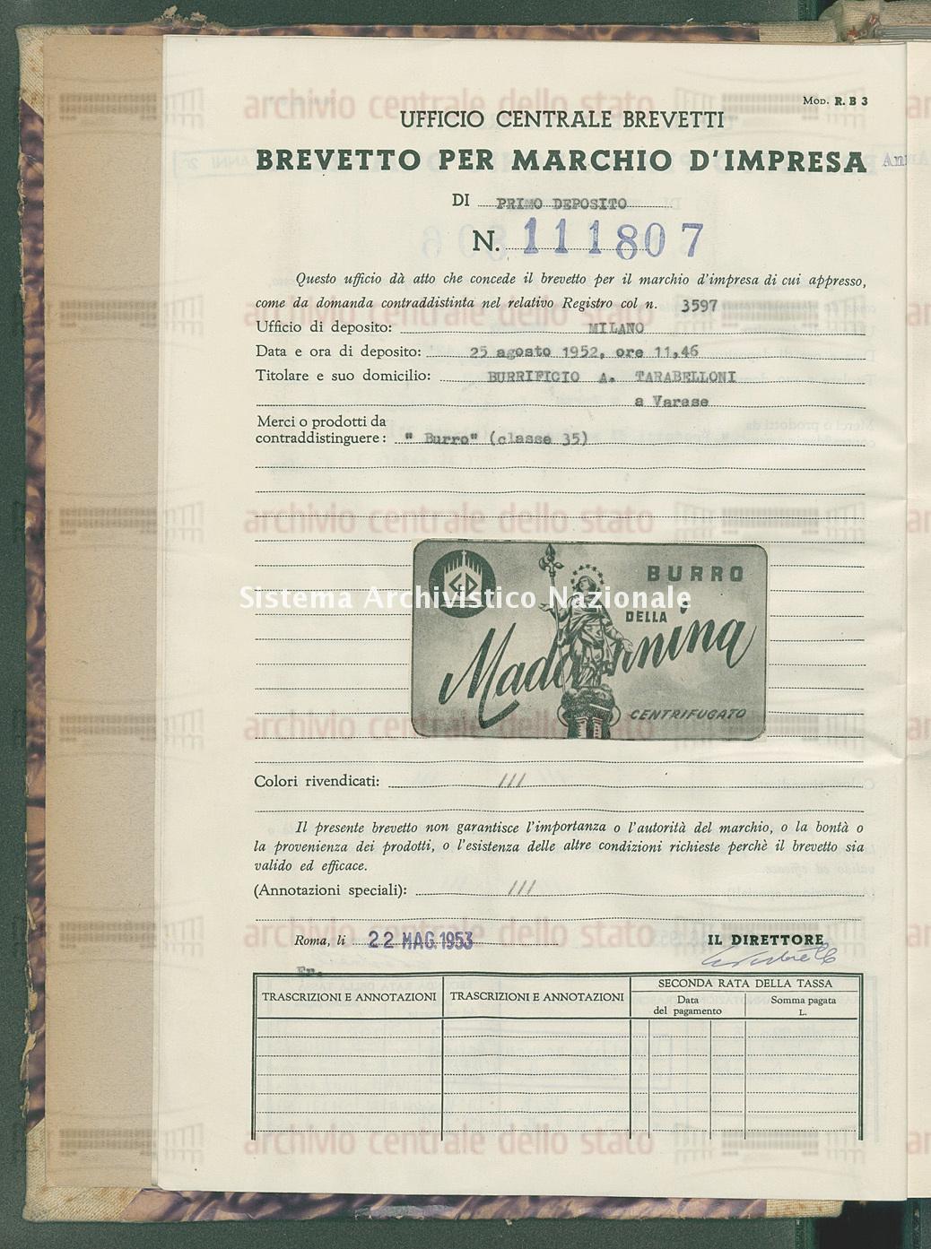 'Burro' Burrificio A.Tarabelloni (22/05/1953)