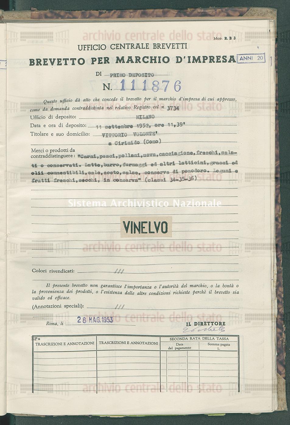 'Carni, pesci, pollami, uova, cacciagione, freschi, salati e conservat Vittorio Volonte' (28/05/1953)