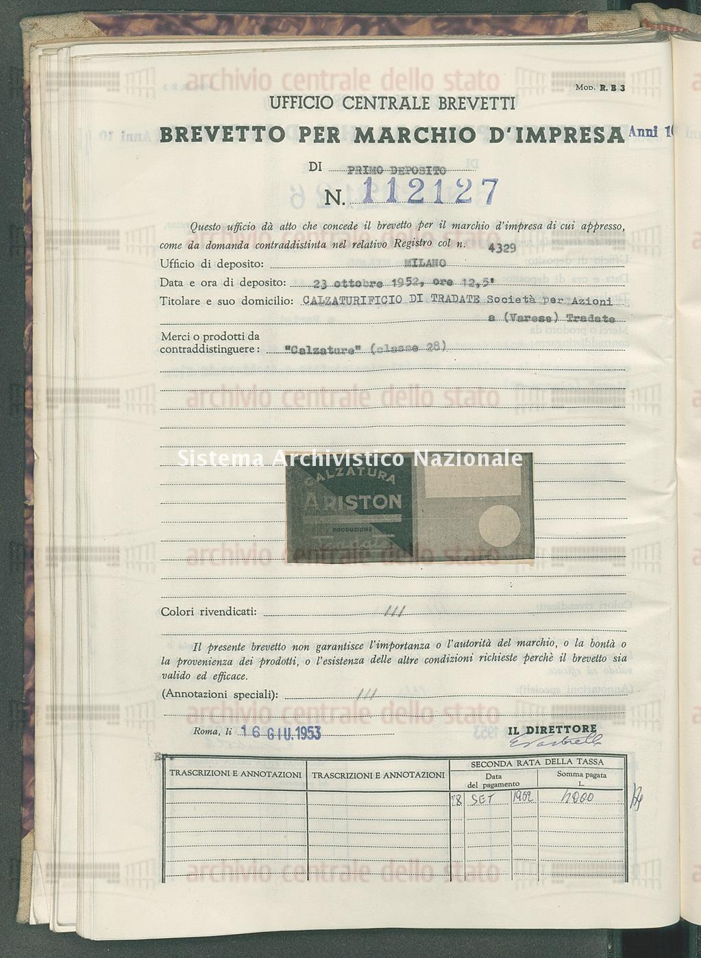 'Calzature' Calzaturificio Di Tradate Societa' Per Azioni (16/06/1953)