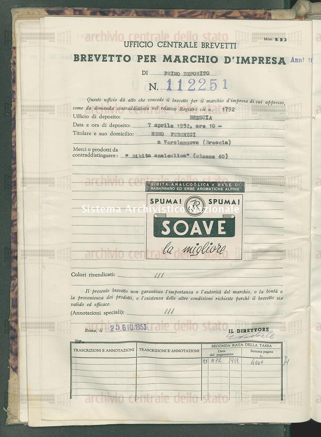 'Bibita analcolica' Remo Federici (25/06/1953)