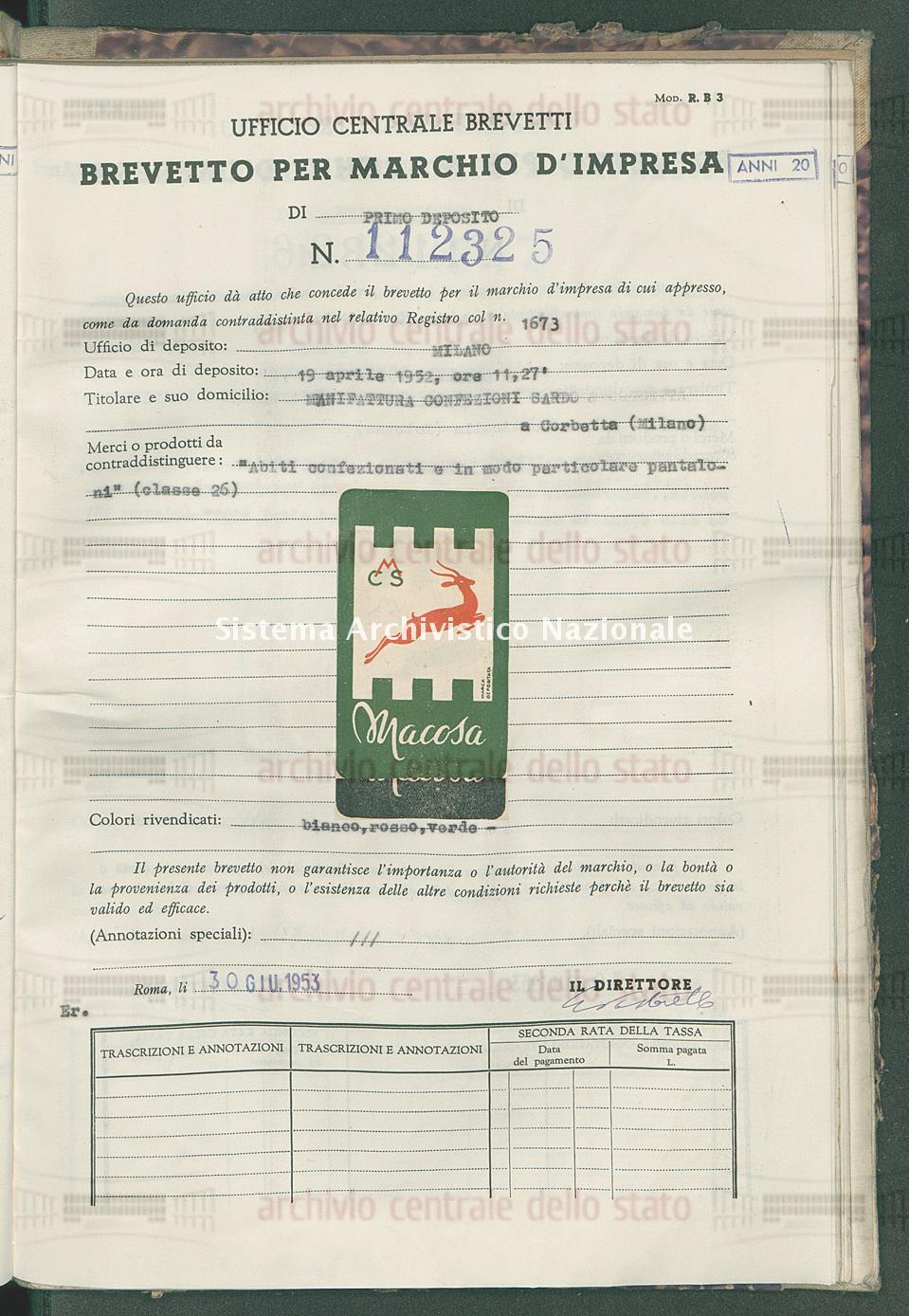 'Abiti confezionati e in modo particolare pantaloni' Manifattura Confezioni Sardo (30/06/1953)