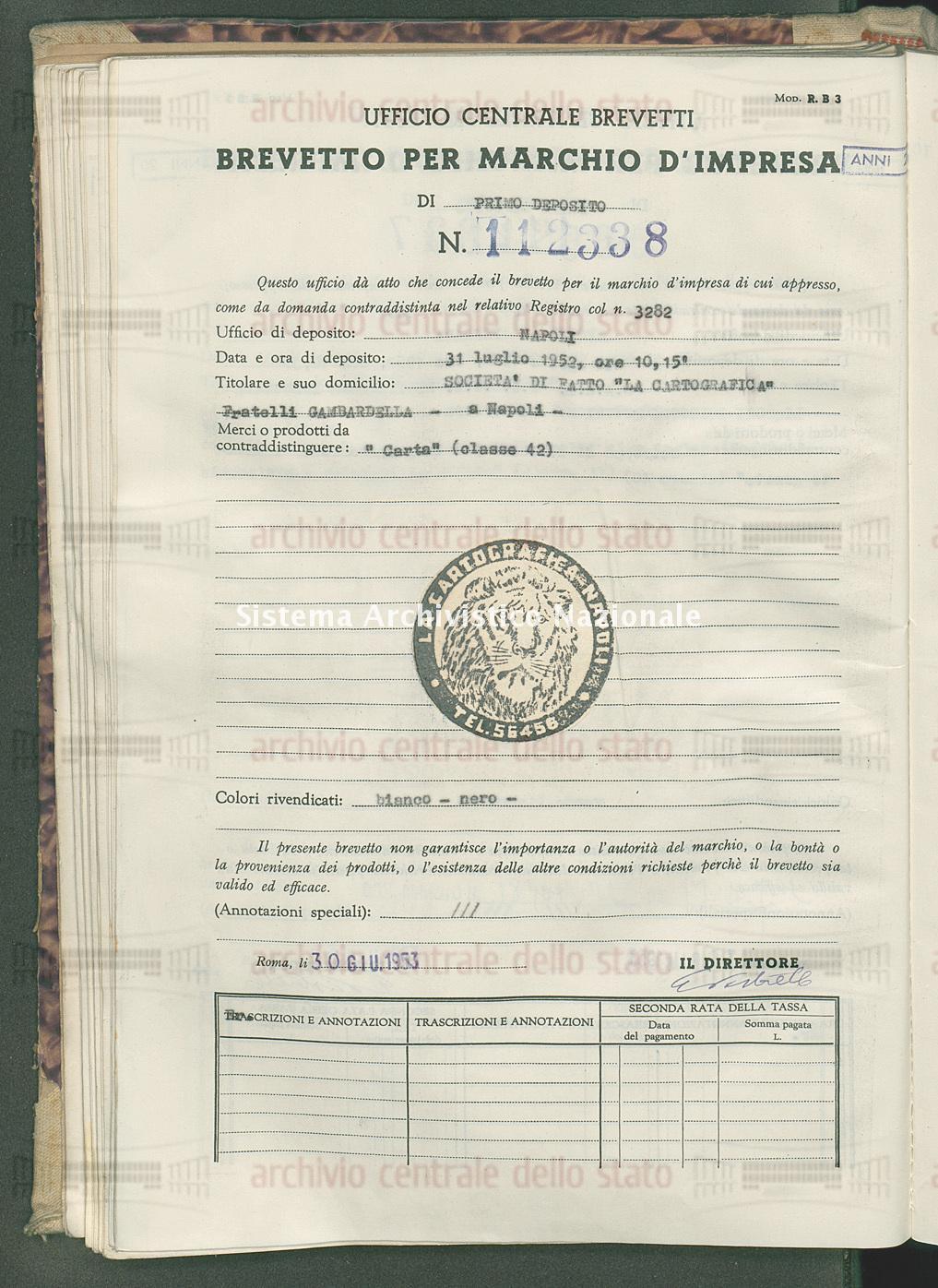 'Carta' Societa' Di Fatto 'La Cartografica' Fratelli Gambardella (30/06/1953)