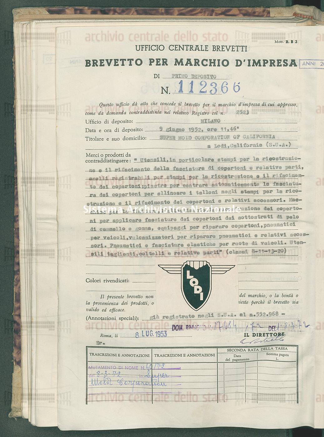 'Utensili, in particolare stampi per la ricostruzione e il rifacimento Super Mold Corporation Of California (08/07/1953)
