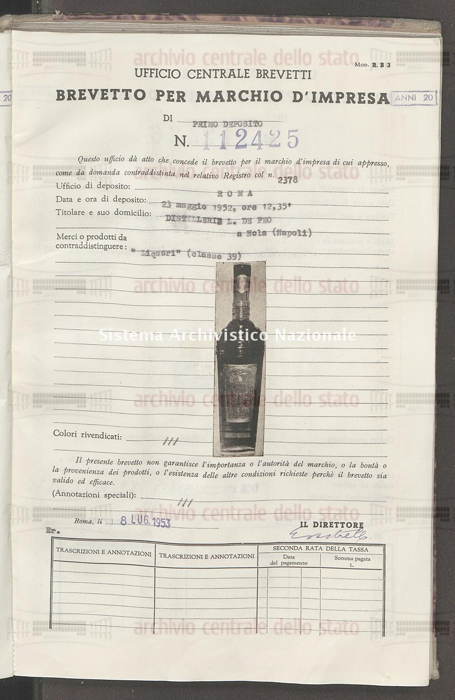 'Liquori' Distillerie L. De Feo (08/07/1953)
