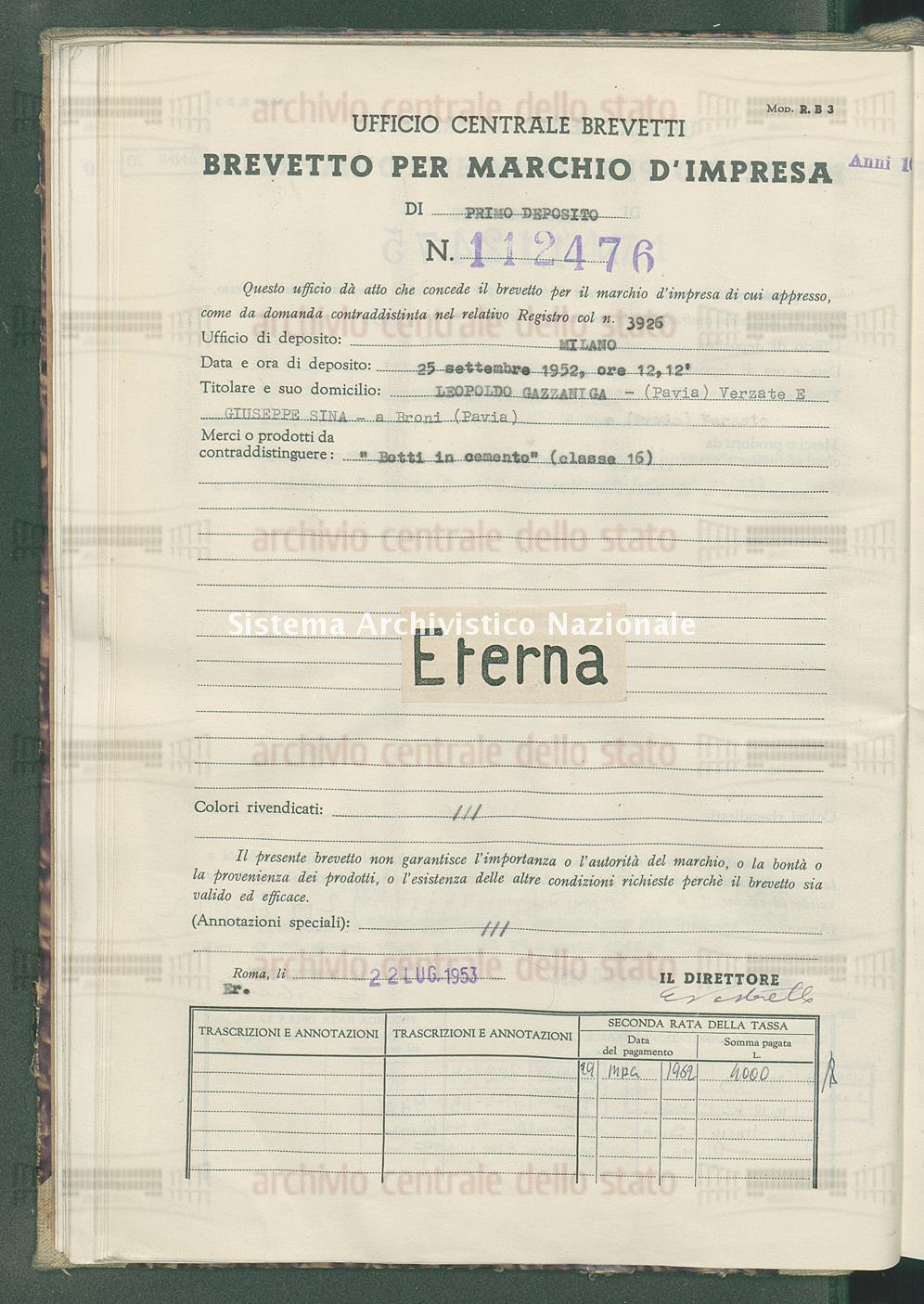 'Botti in cemento' Leopoldo Gazzaniga-(Pavia)Verzato E Giuseppe Bina (22/07/1953)