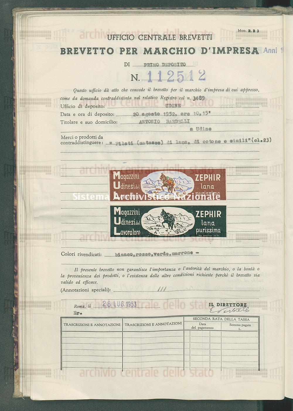 'Filati (matasse) di lana, di cotone e simili Antonio Bardelli (28/07/1953)