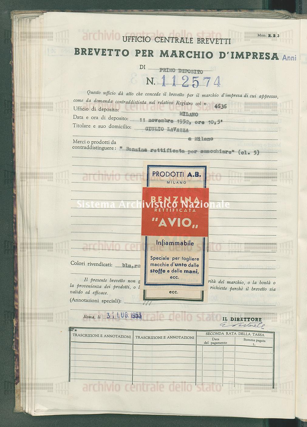 'Benzina rettificata per smacchiare' Giulio Lavazza (31/07/1953)