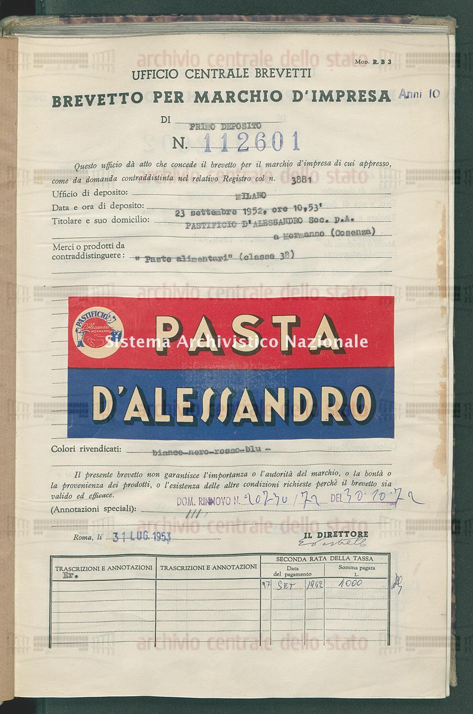 'Paste alimentari' Pastificio D'Alessandro Soc.P.A. (31/07/1953)