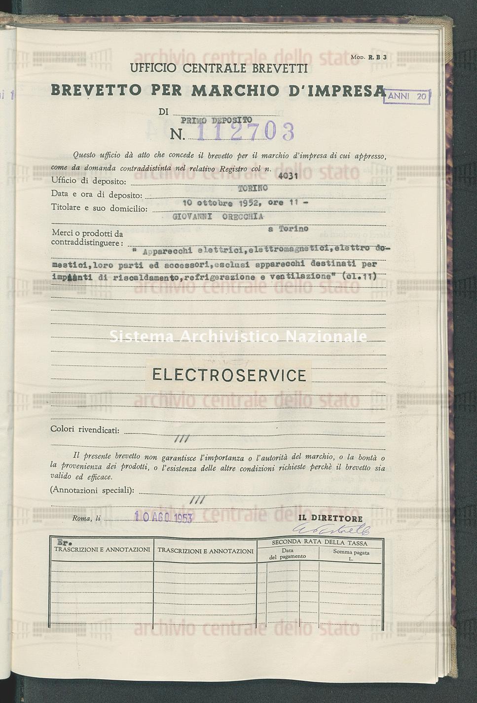 'Apparecchi elettrici, elettromagnetici, elettro domestici, ecc. Giovanni Orecchia (10/08/1953)