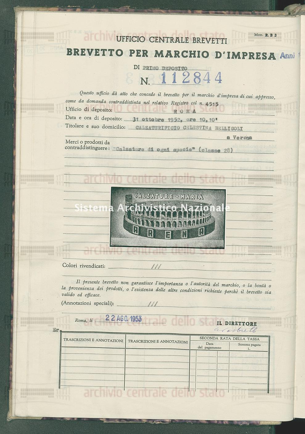 'Calzature di ogni specie' Calzaturificio Celestina Belligoli (22/08/1953)