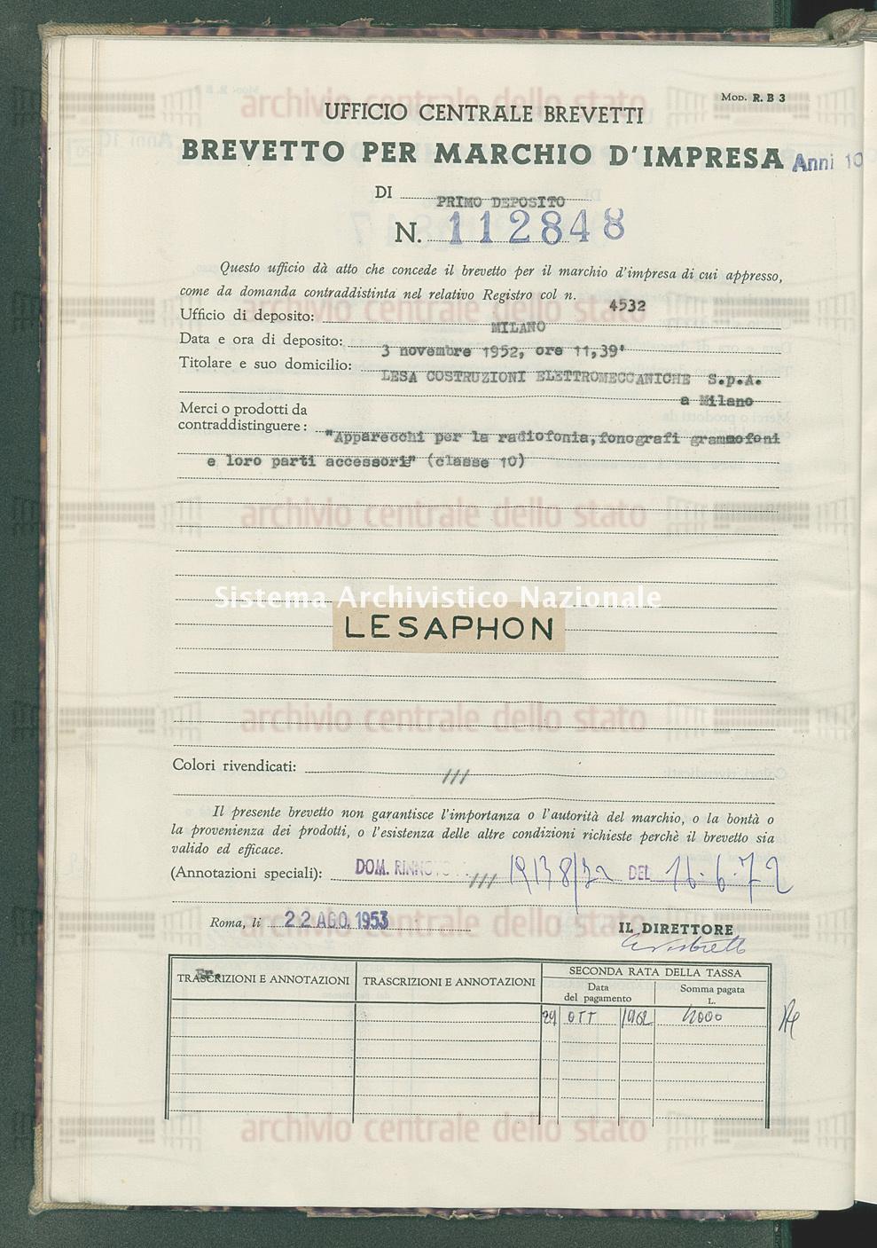 'Apparecchi per la radiofonia, fonografi, grammofoni e loro parti ecc. Lesa Costruzioni Elettromeccaniche S.P.A. (22/08/1953)