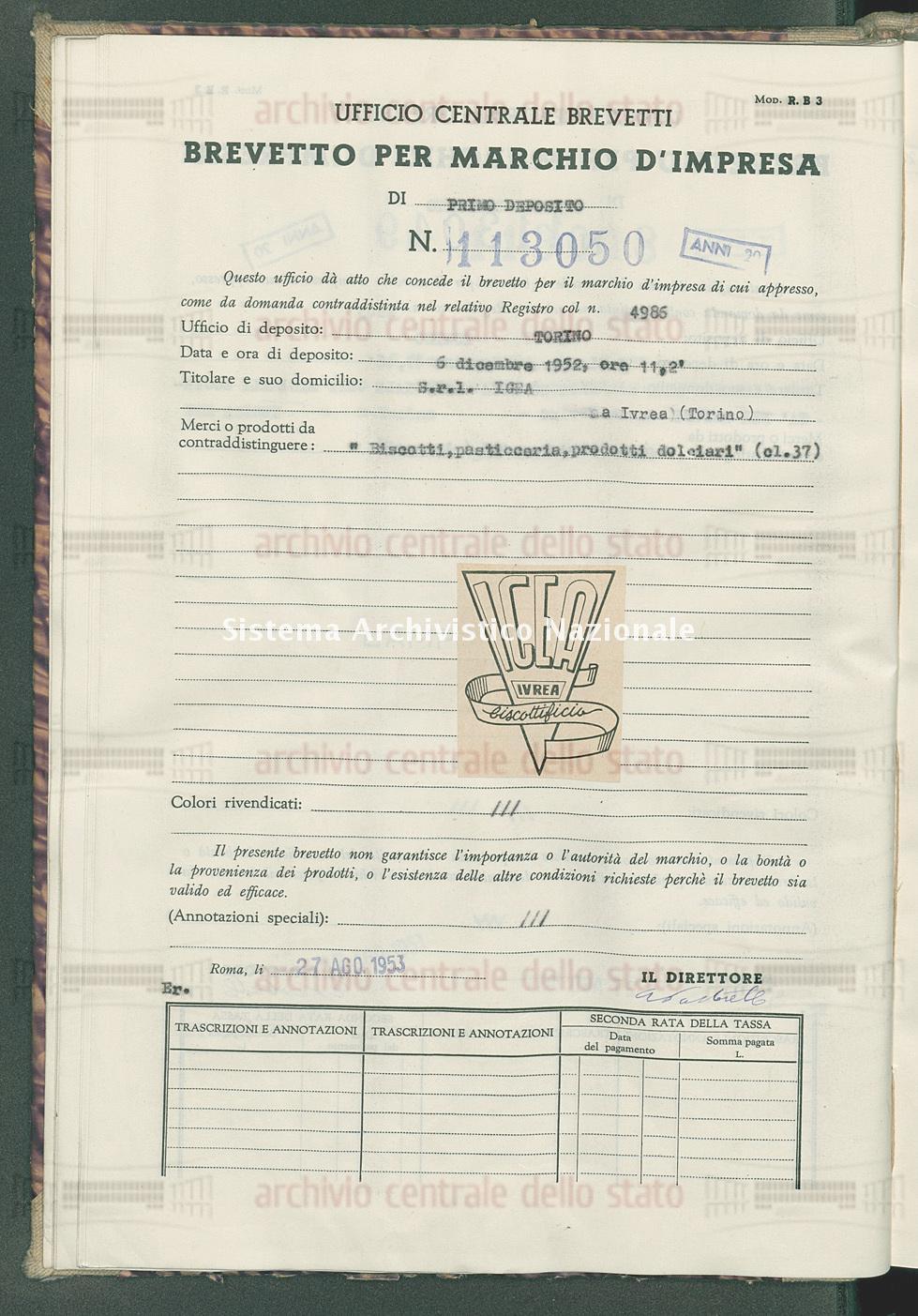 'Biscotti, pasticceria, prodotti dolciari' S.R.L.Igea (27/08/1953)