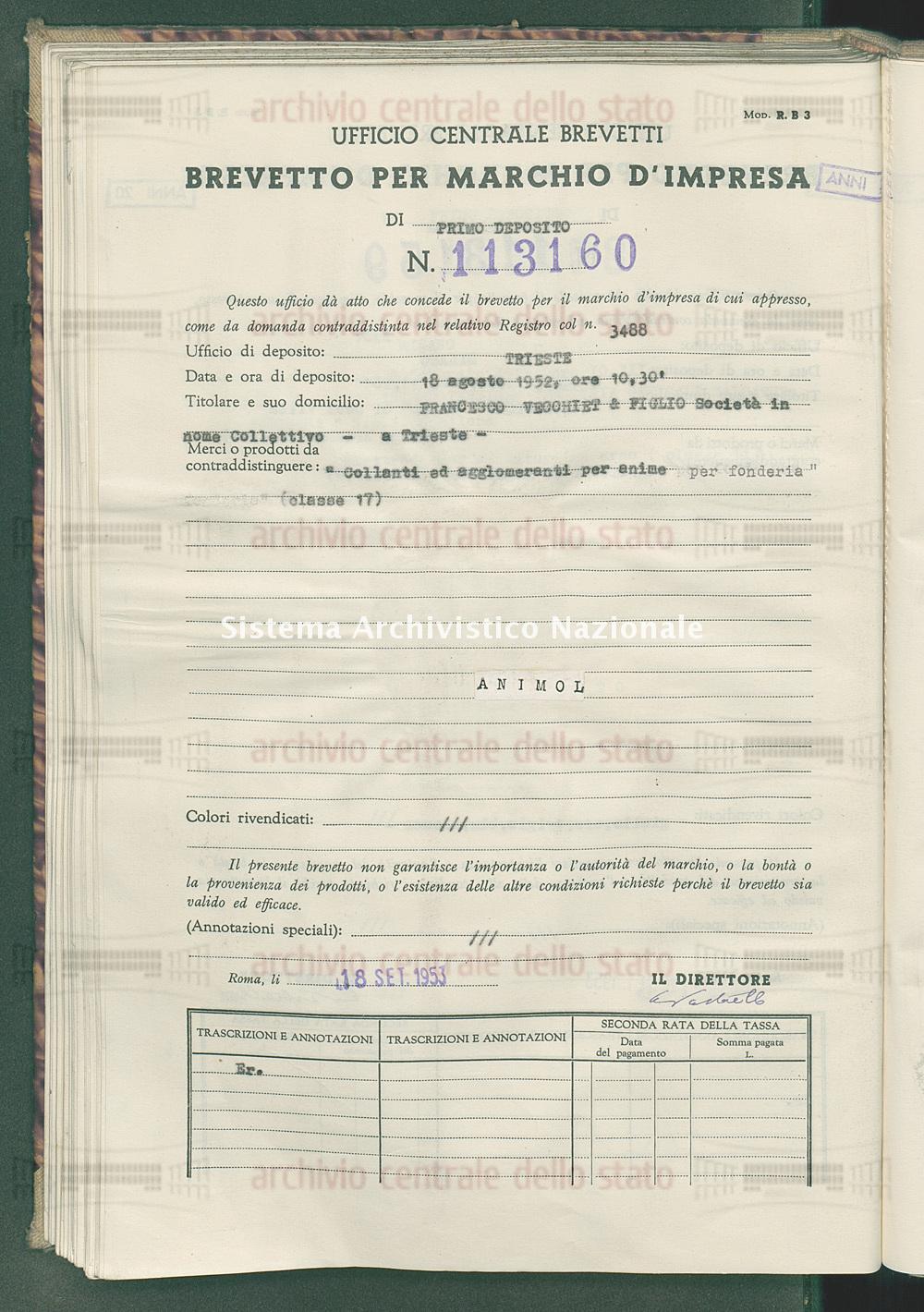'Collanti ad agglomerati per anime per fonderia' Francesco Vecchiet & Figlio Societa' In Nome Collettivo (18/09/1953)