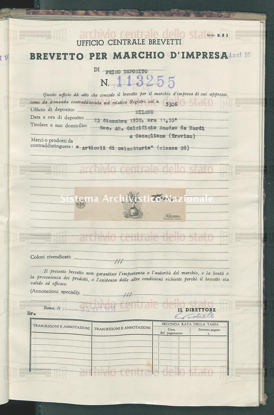 'Articoli di calzetteria' Soc.An.Calzificio Amedeo De Nardi (23/09/1953)