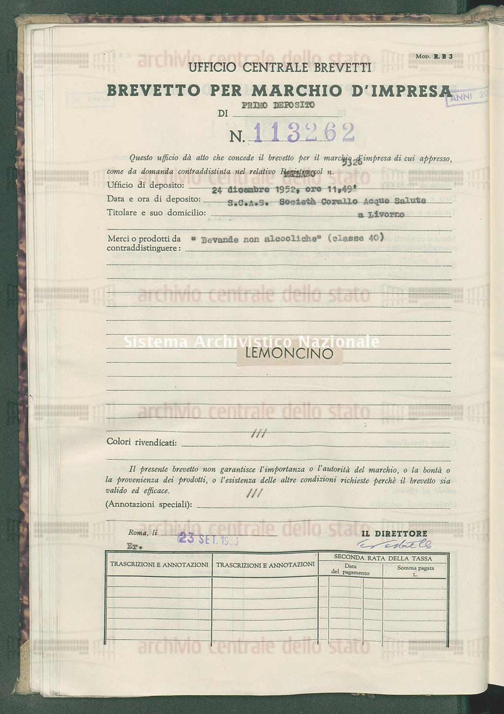 'Bevande non alcooliche' S.C.A.S.Societa' Corallo Acque Salute (23/09/1953)