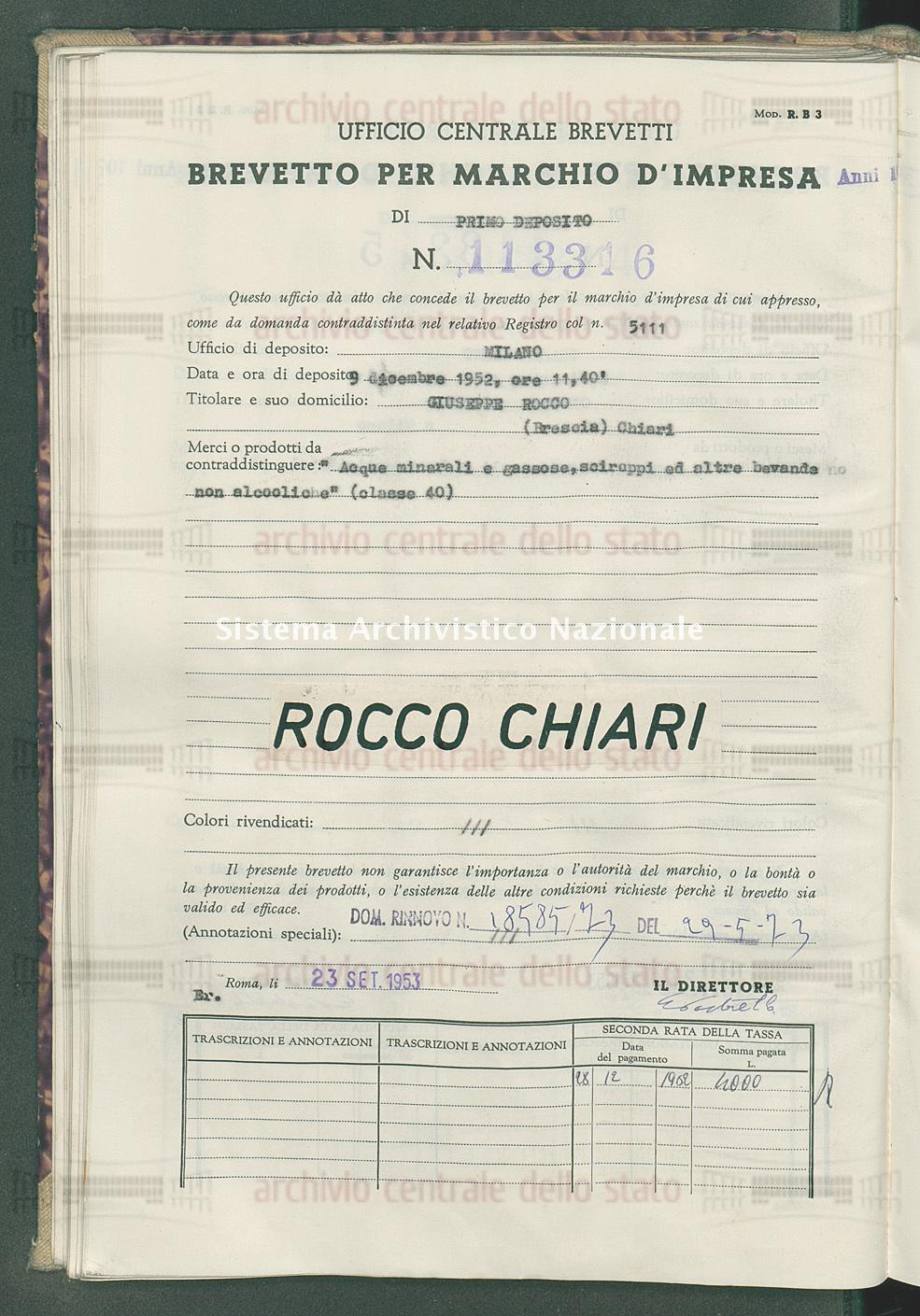 'Acque minerali e gassose, sciroppi ed altre bevande non alcooliche' Giuseppe Rocco (23/09/1953)