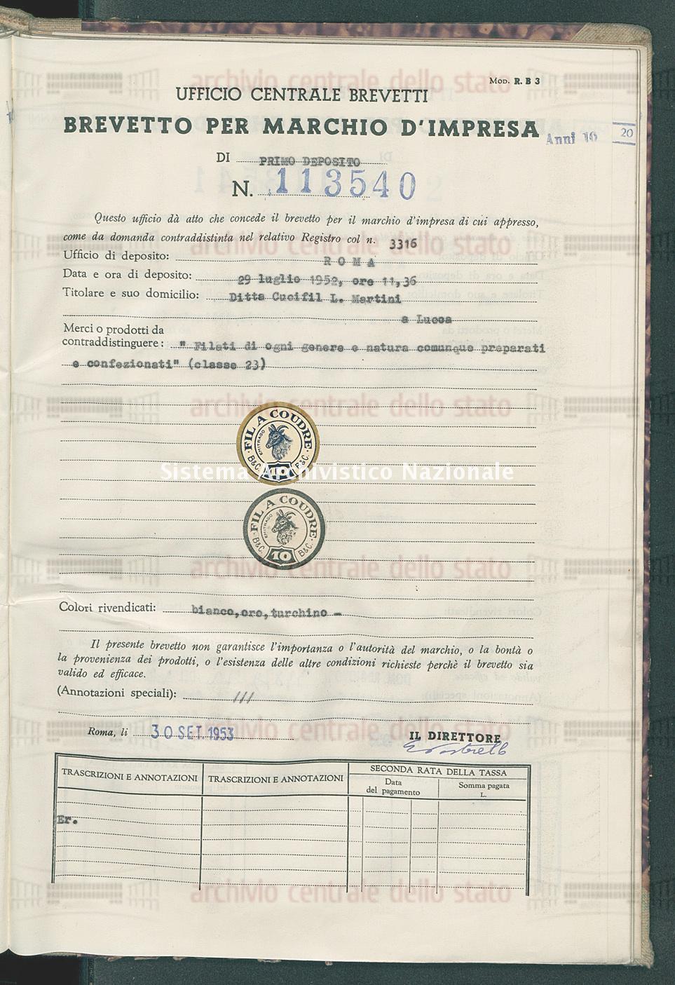 'Filati di ogni genere e natura comunque preparati e confezionati' Ditta Cucifil L.Martini (30/09/1953)
