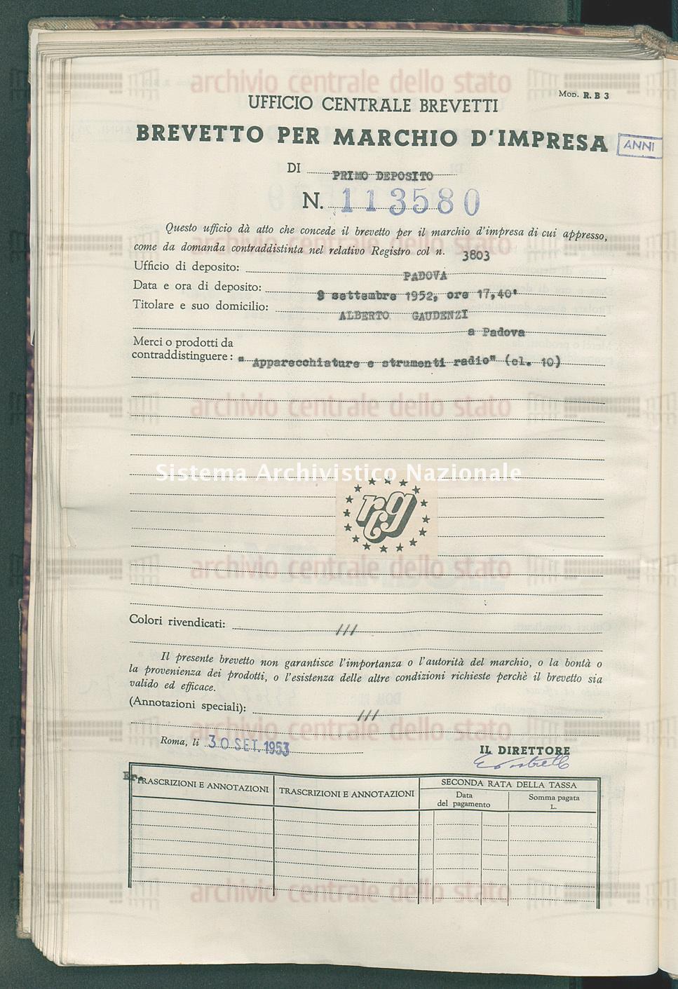 'Apparecchiature e strumenti radio' Alberto Gaudenzi (30/09/1953)