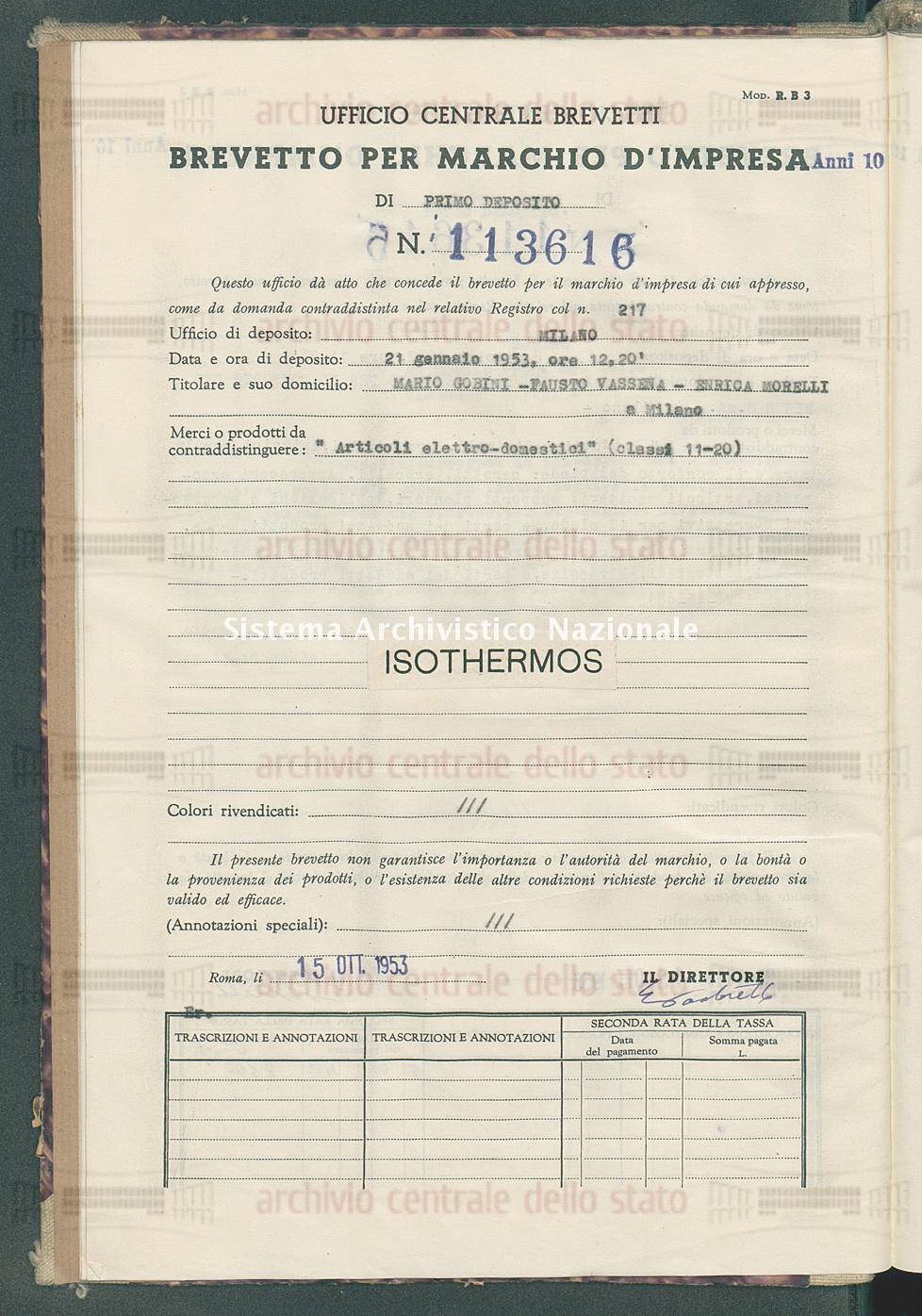 'Articoli elettro-domestici' Mario Gobini-Fausto Vassena-Enrica Morelli (15/10/1953)