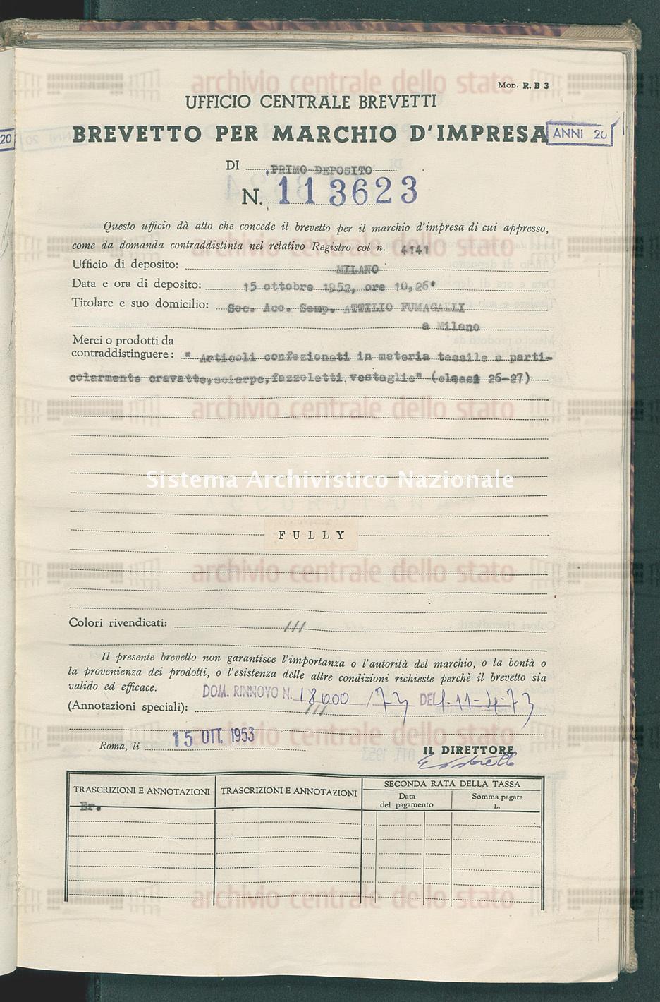 'Articoli confezionati in materia tessile o particolarmente cravatte, Soc.Acc.Sempl.Attilio Fumagalli (15/10/1953)