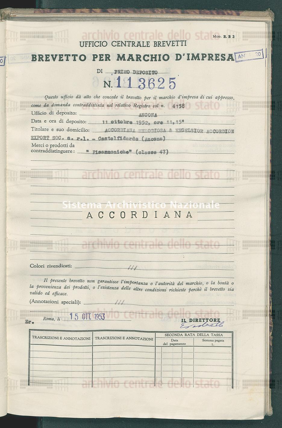'Fisarmoniche' Accordiana Melodiosa & Excelsior Accordion Export Soc. A R.L. (15/10/1953)