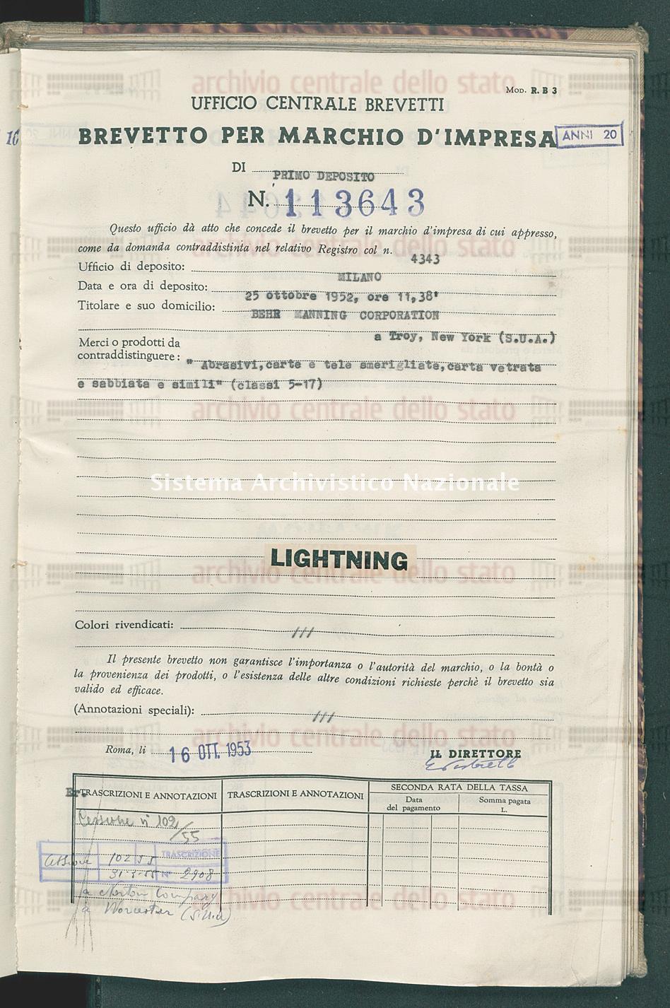 'Abrasivi, carte e tele smerigliate, carta vetrata e sabbiata e simili Behr Manning Corporation (16/10/1953)