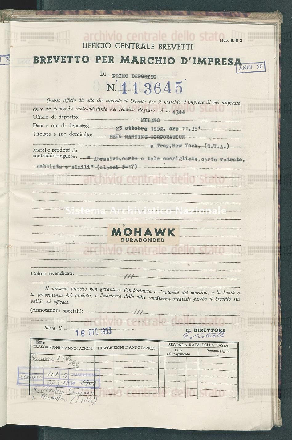 'Abrasivi, carta e tele smerigliate, carta vetrata, sabbiata e simili' Behr Manning Corporation (16/10/1953)