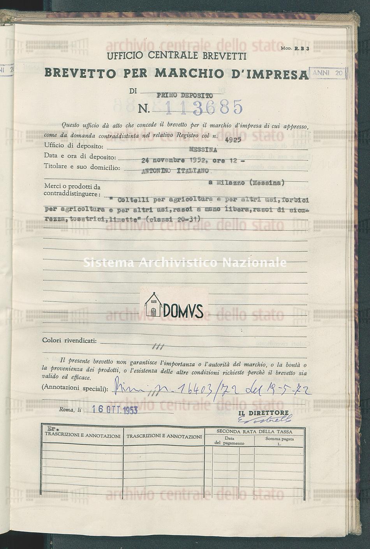 'Coltelli per agricoltura e per altri usi, forbici per agricoltura ecc Antonino Italiano (16/10/1953)