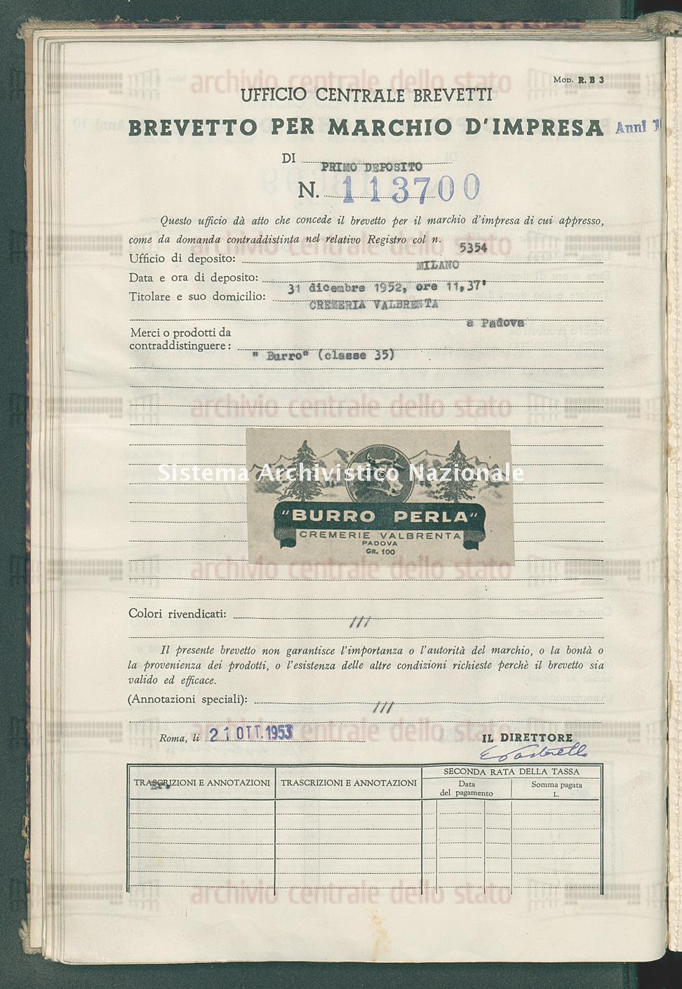 'Burro' Cremeria Valbrenta (21/10/1953)