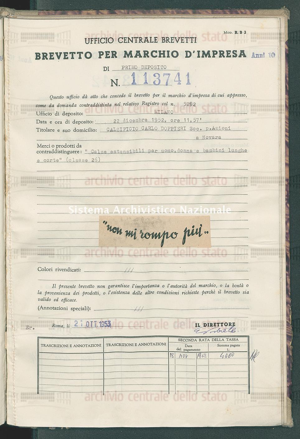 'Calze estensibili per uomo, donna e bambino lunghe e corte' Calzificio Carlo Doppieri Soc.P.Azioni (21/10/1953)