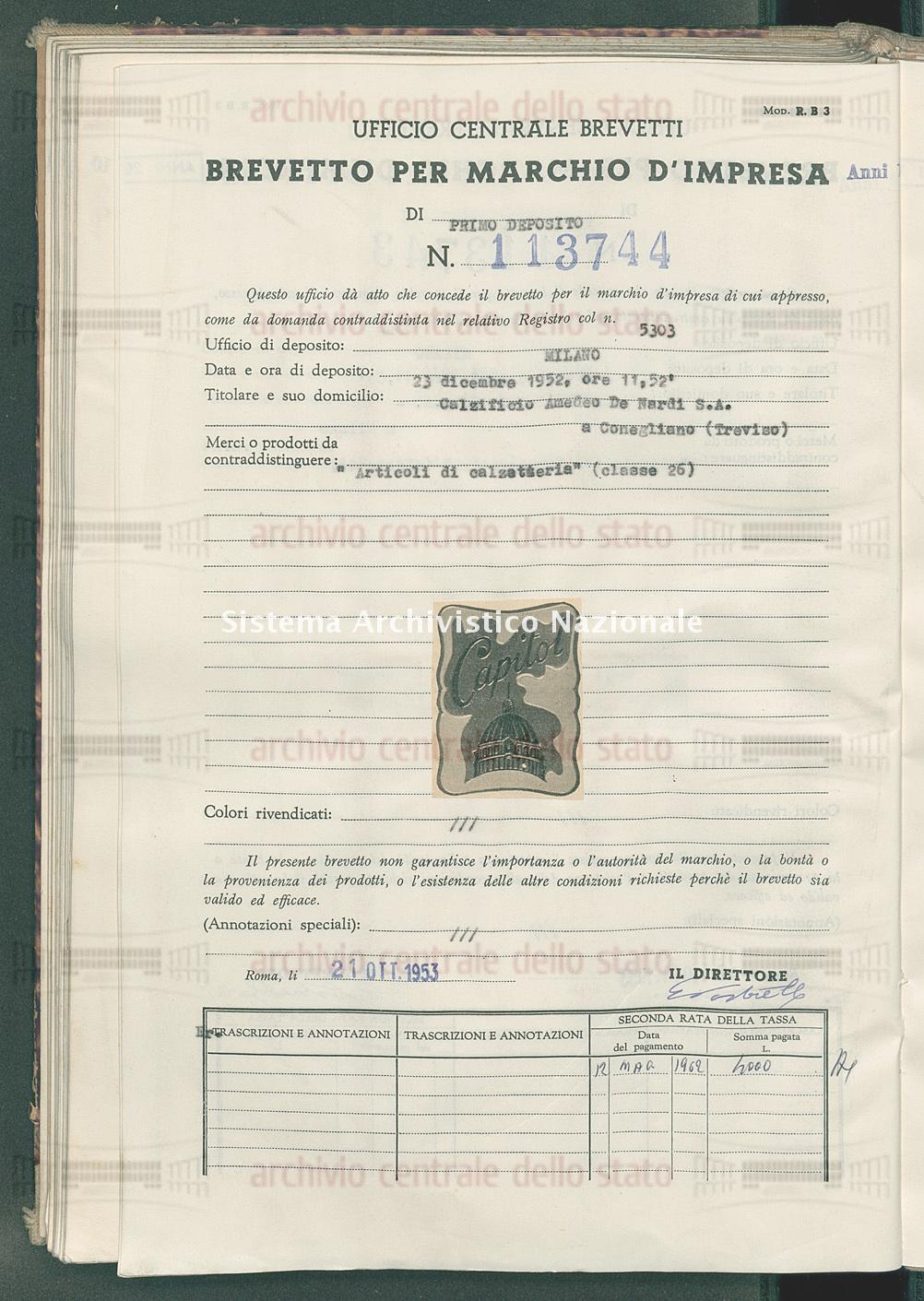 'Articoli di calzetteria' Calzificio Amedeo De Nardi S.P.A. (21/10/1953)