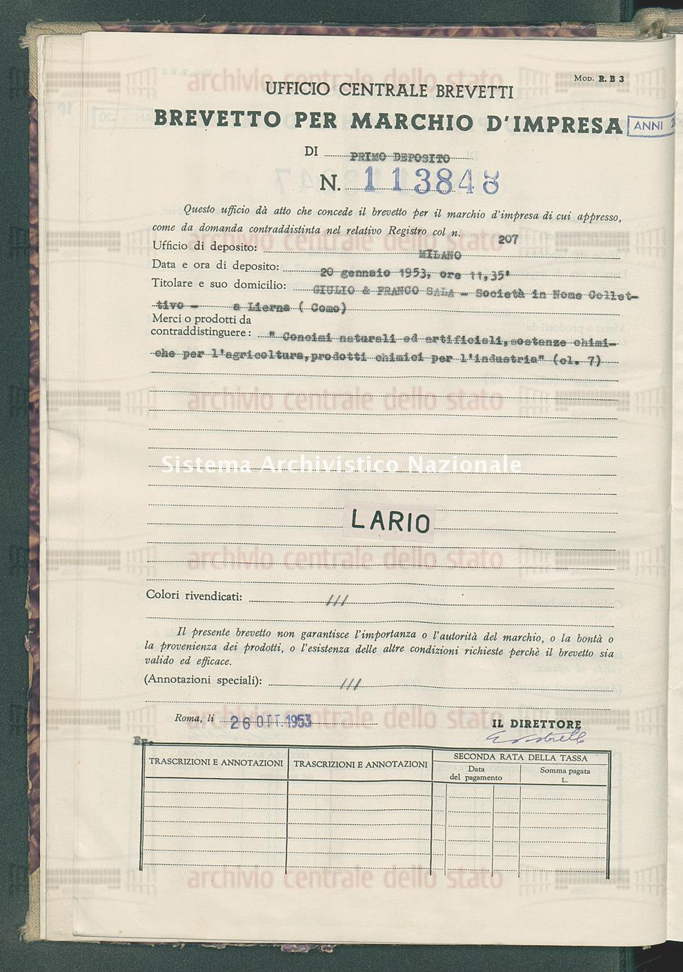 'Concimi naturali ed artificiali, sostanze chimiche per l'agricoltura, Guilio & Franco Sala-Societa' In Nome Collettivo (26/10/1953)