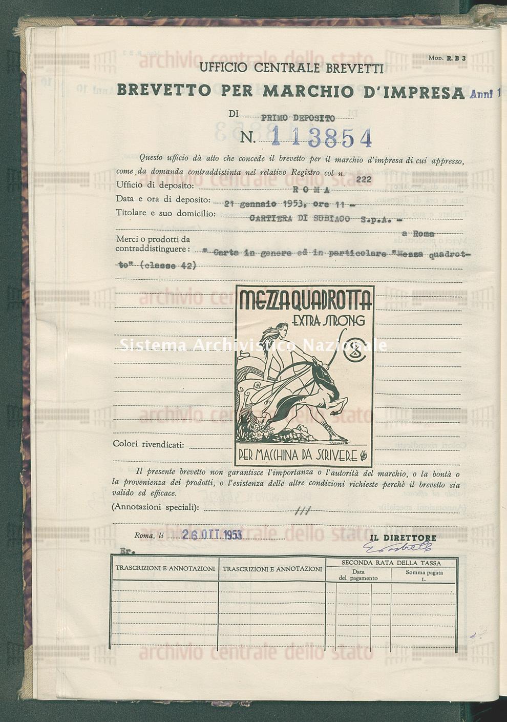 'Carta in genere ed in particolare 'mezza quadretto' Cartiera Di Subiaco S.P.A. (26/10/1953)