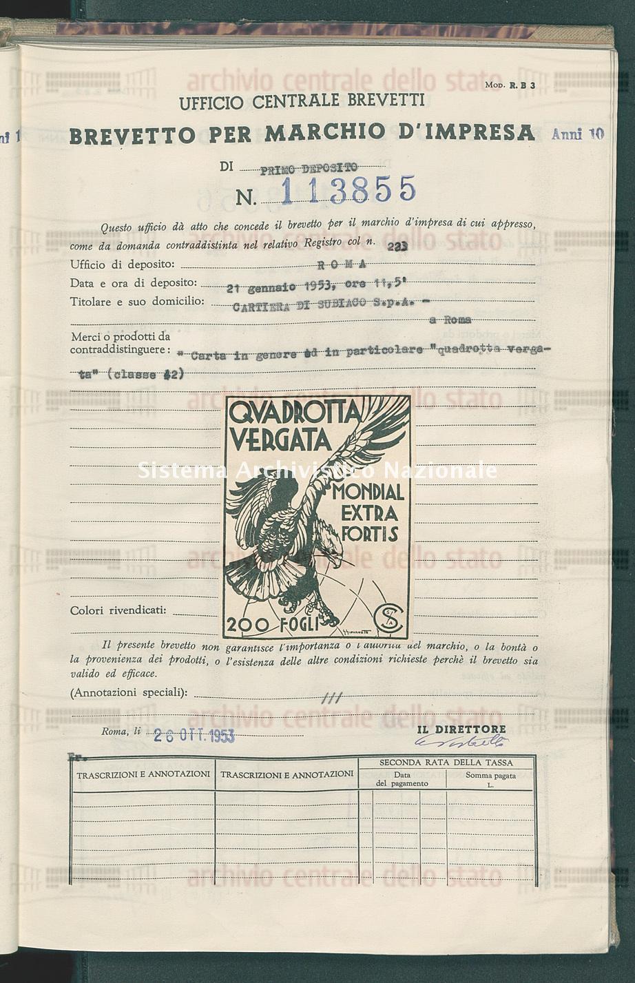 'Carta in genere ed in particolare 'quadrotta vergata' Cartiera Di Subiaco S.P.A. (26/10/1953)
