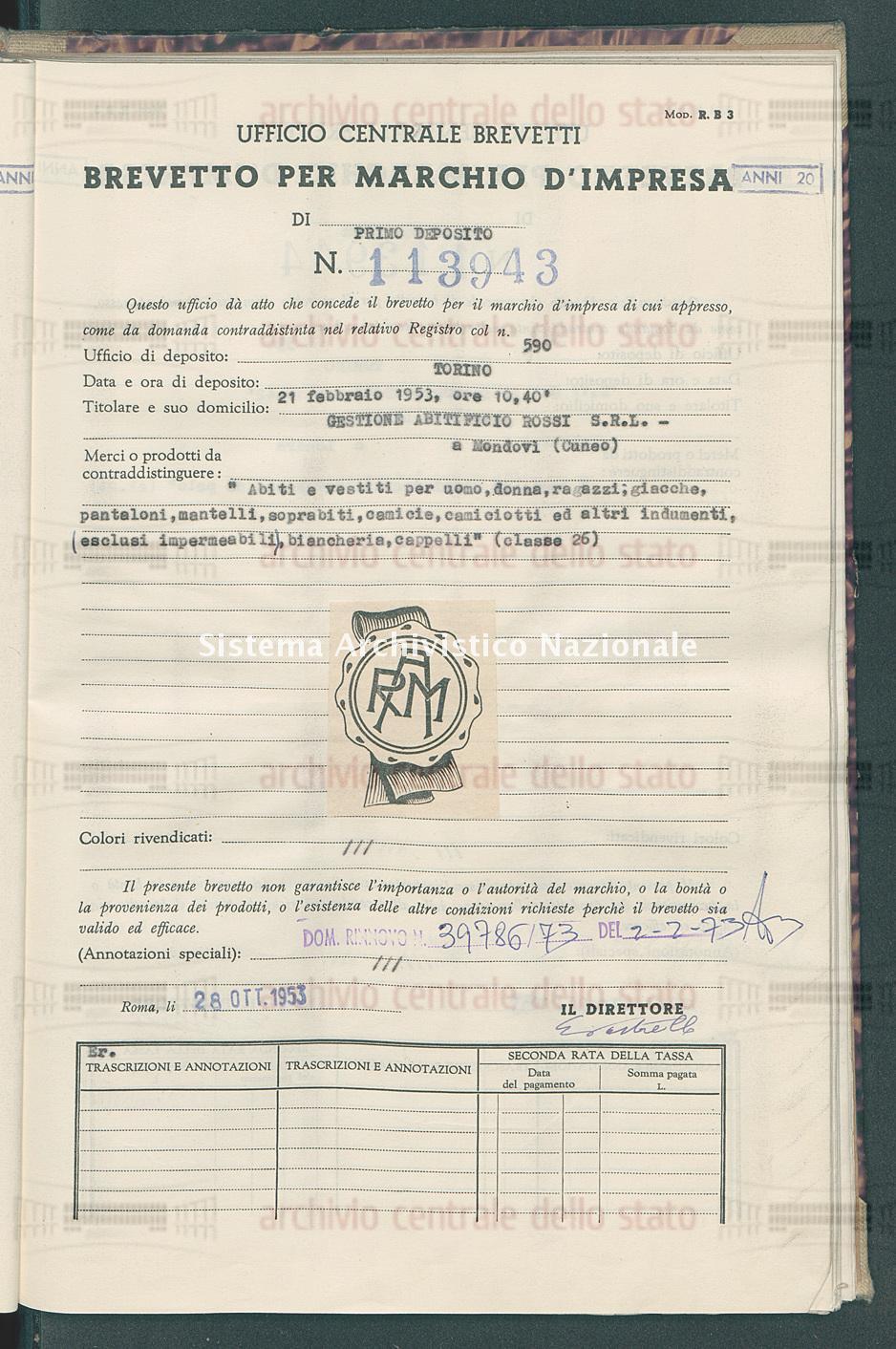 'Abiti e vestiti per uomo, donna, ragazzi, giacche, pantaloni, mantell Gestione Abitificio Rossi S.R.L. (28/10/1953)