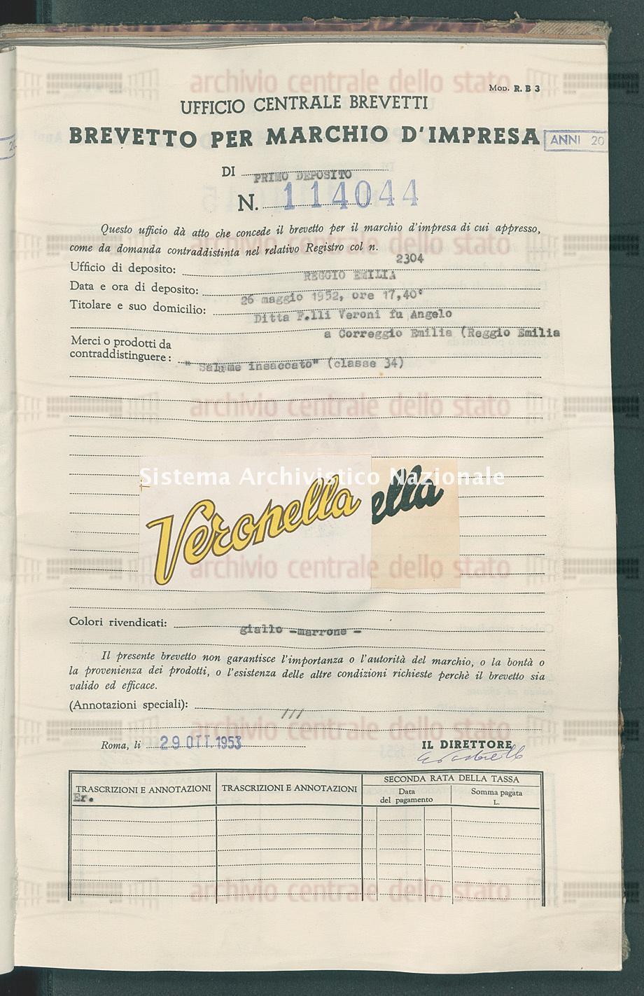 'Salame insaccato' Ditta F.Lli Veroni Fu Angelo (29/10/1953)