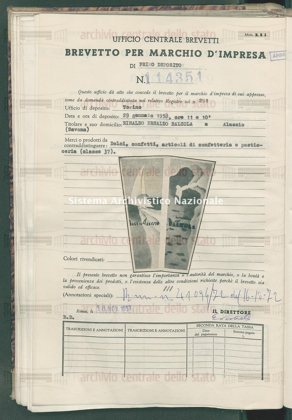 Dolci, confetti, articoli di confetteria e pasticceria Rinaldo Ernaldo Balzola (18/11/1953)