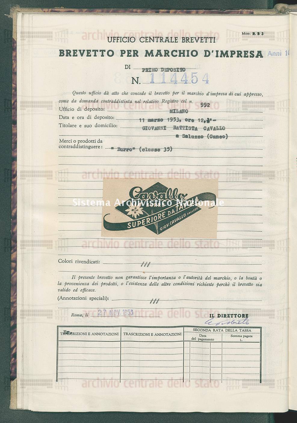 'Burro' Giovanni Battista Cavallo (27/11/1953)