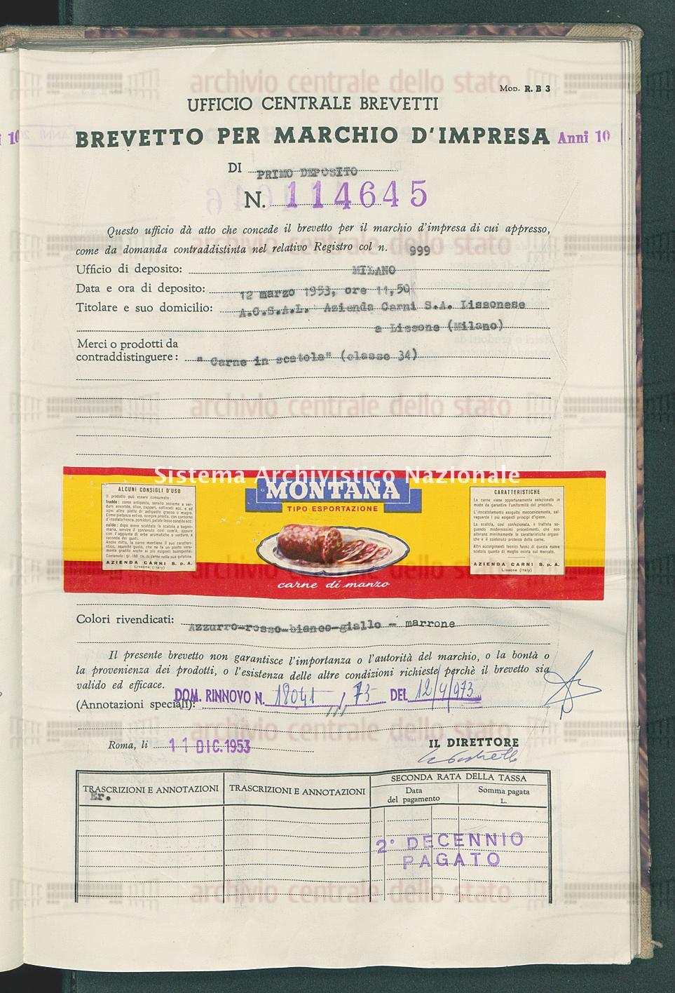 'Carne in scatola' A.C.S.A.D.Azienda Carni S.A.Lissonese (11/12/1953)