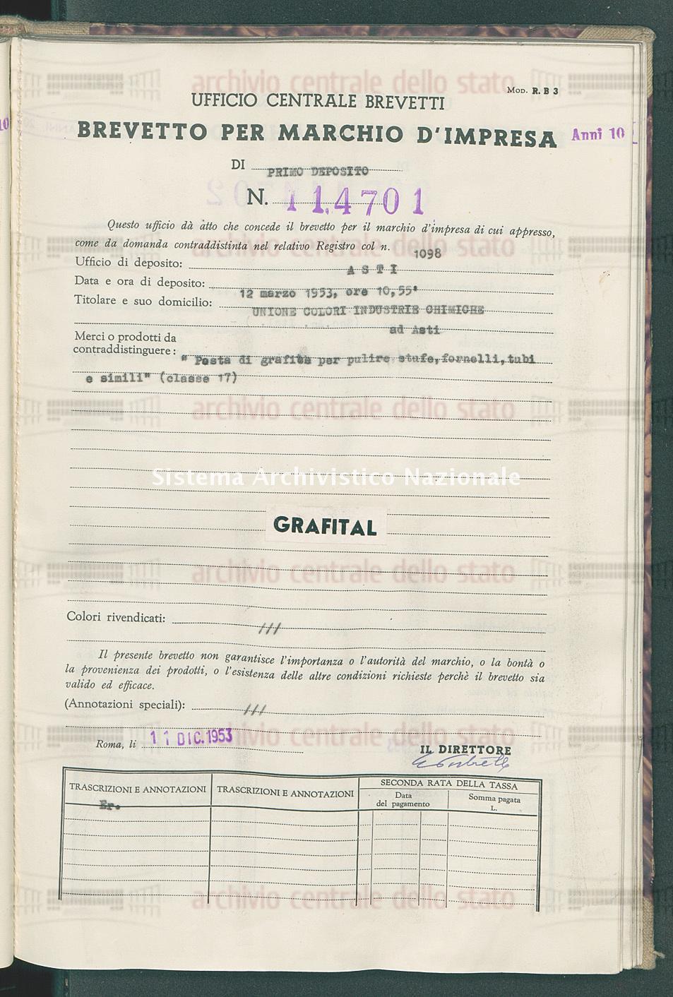'Festa di grafite per pulire stufe, fornelli, tubi e simili' Unione Colori Industrie Chimiche (11/12/1953)
