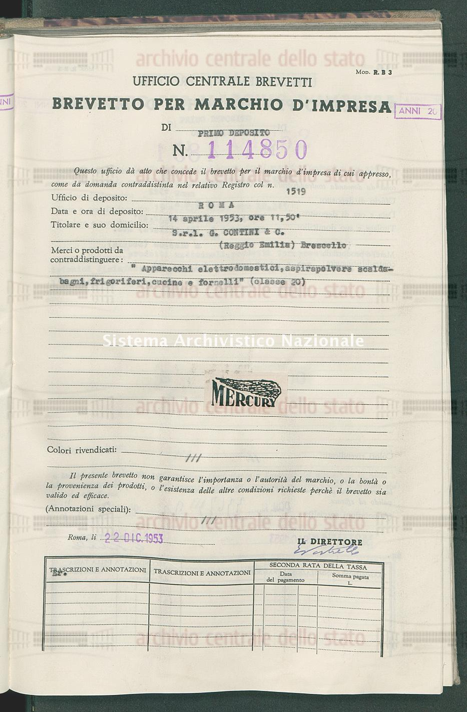 'Apparecchi elettrodomestici, aspirapolvere scaldabagni, frigoriferi, S.R.L. G.Contini & C. (22/12/1953)