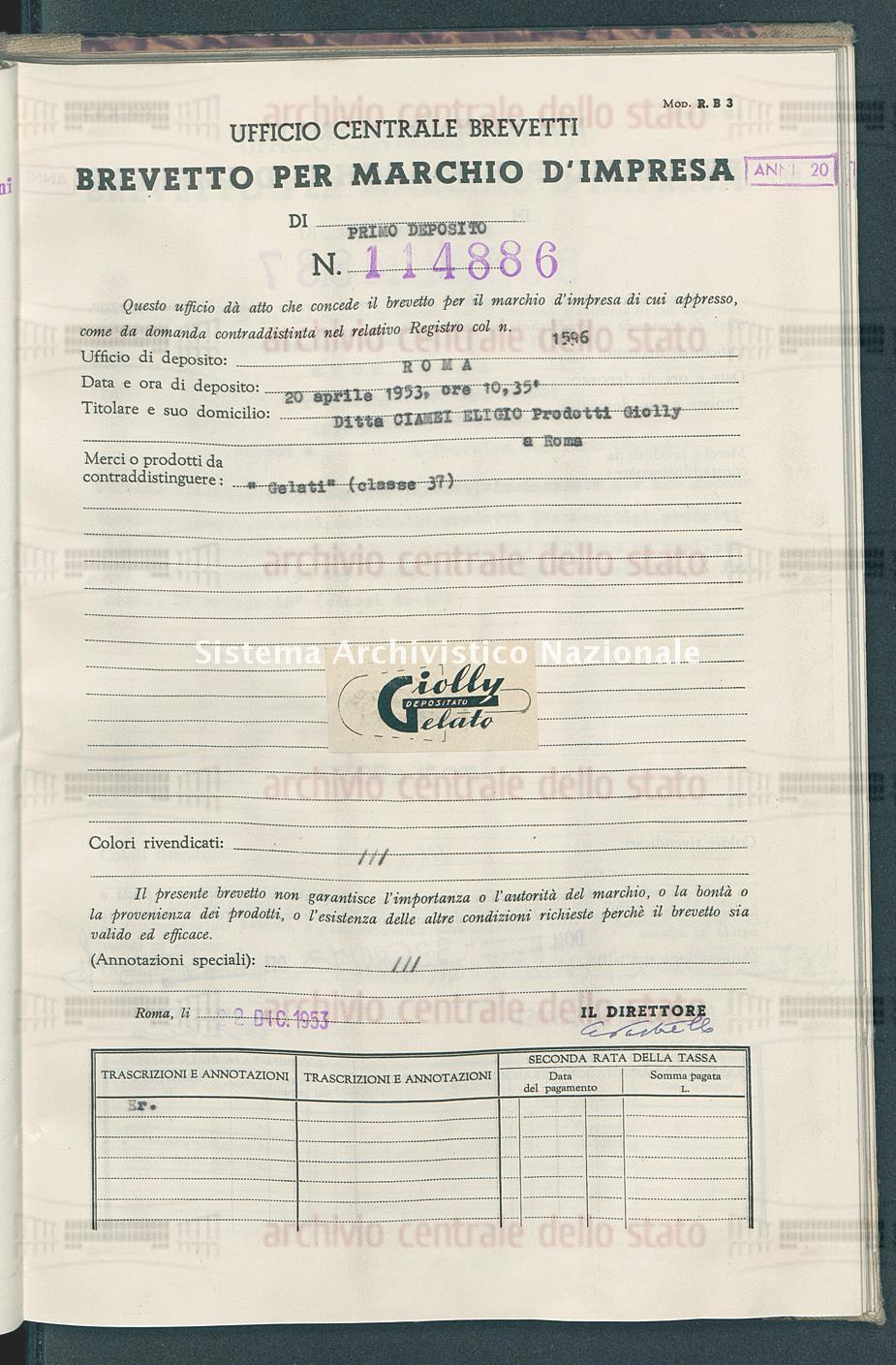 'Gelati' Ditta Ciamei Eligio Prodotti Giolly (22/12/1953)