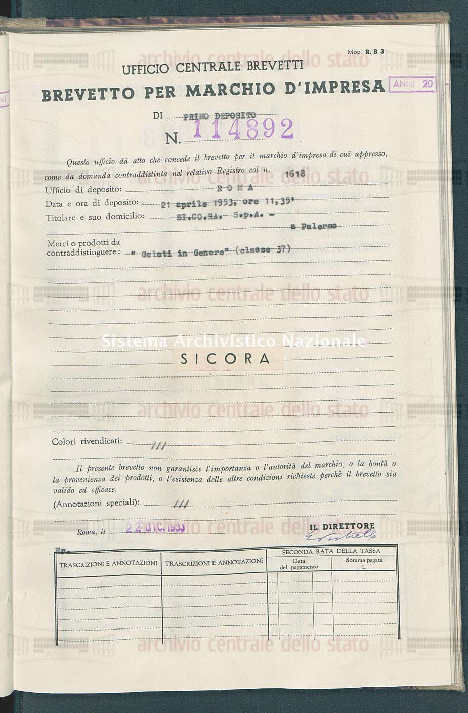 'Gelati in genere' Si.Co.Ra. S.P.A. (22/12/1953)