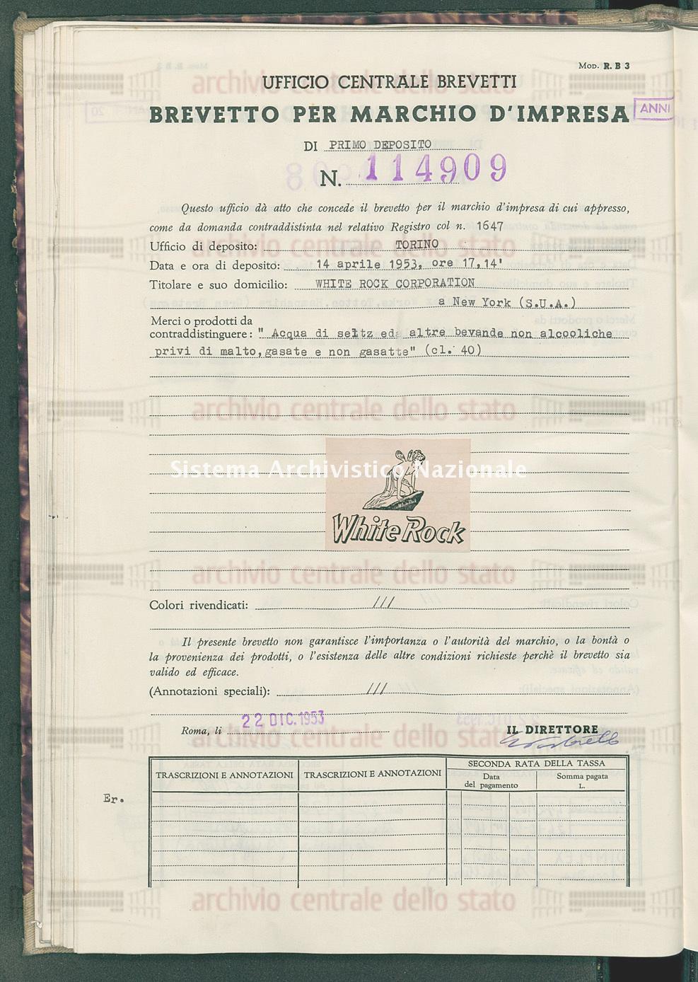 'Acqua di seltz ed altre bevande alcooliche privi di malto, gasate ecc White Rock Corporation (22/12/1953)