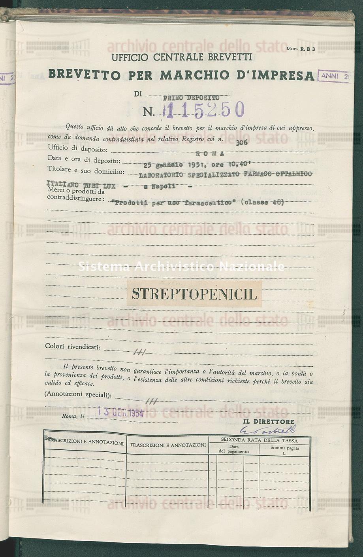 'Prodotti per uso farmaceutico' Laboratorio Specializzato Farmaco Oftalmico Italiano Tubi Lux (13/01/1954)