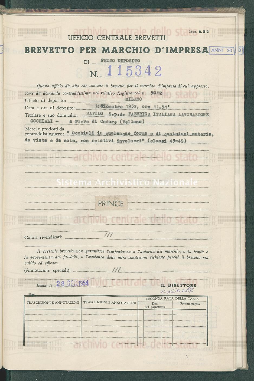 'Occhiali in qualunque forma e di qualsiasi materia, da vista ecc. Safilo S.P.A.Fabbrica Italiana Lavorazione Occhiali (28/01/1954)