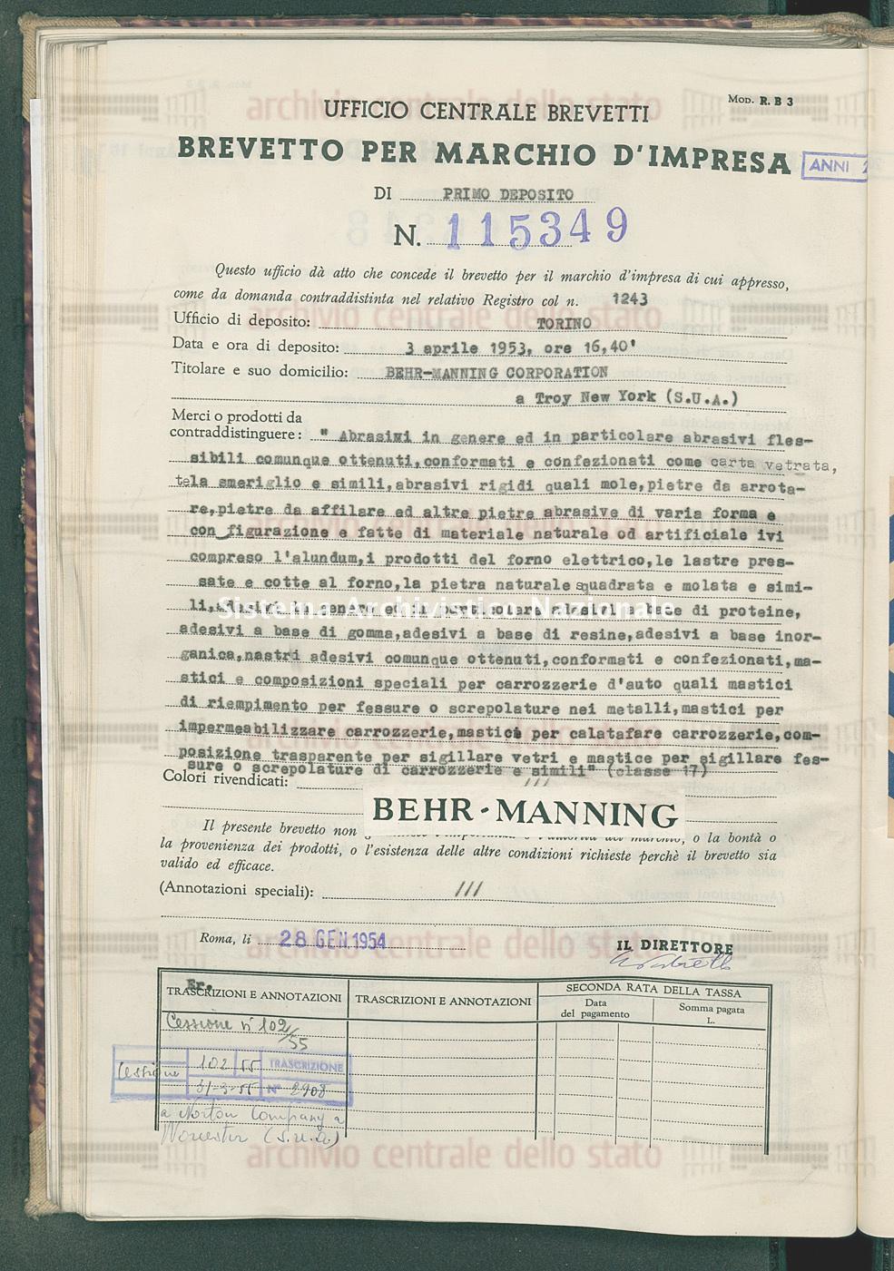 'Abrasivi in genere ed in particolare abrasivi flessibili comunque Behr-Manning Corporation (28/01/1954)