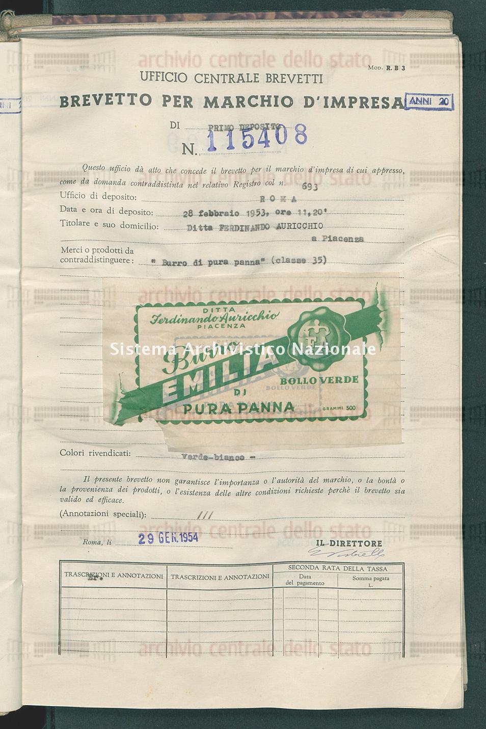 'Burro di pura panna' Ditta Ferdinando Auricchio (29/01/1954)