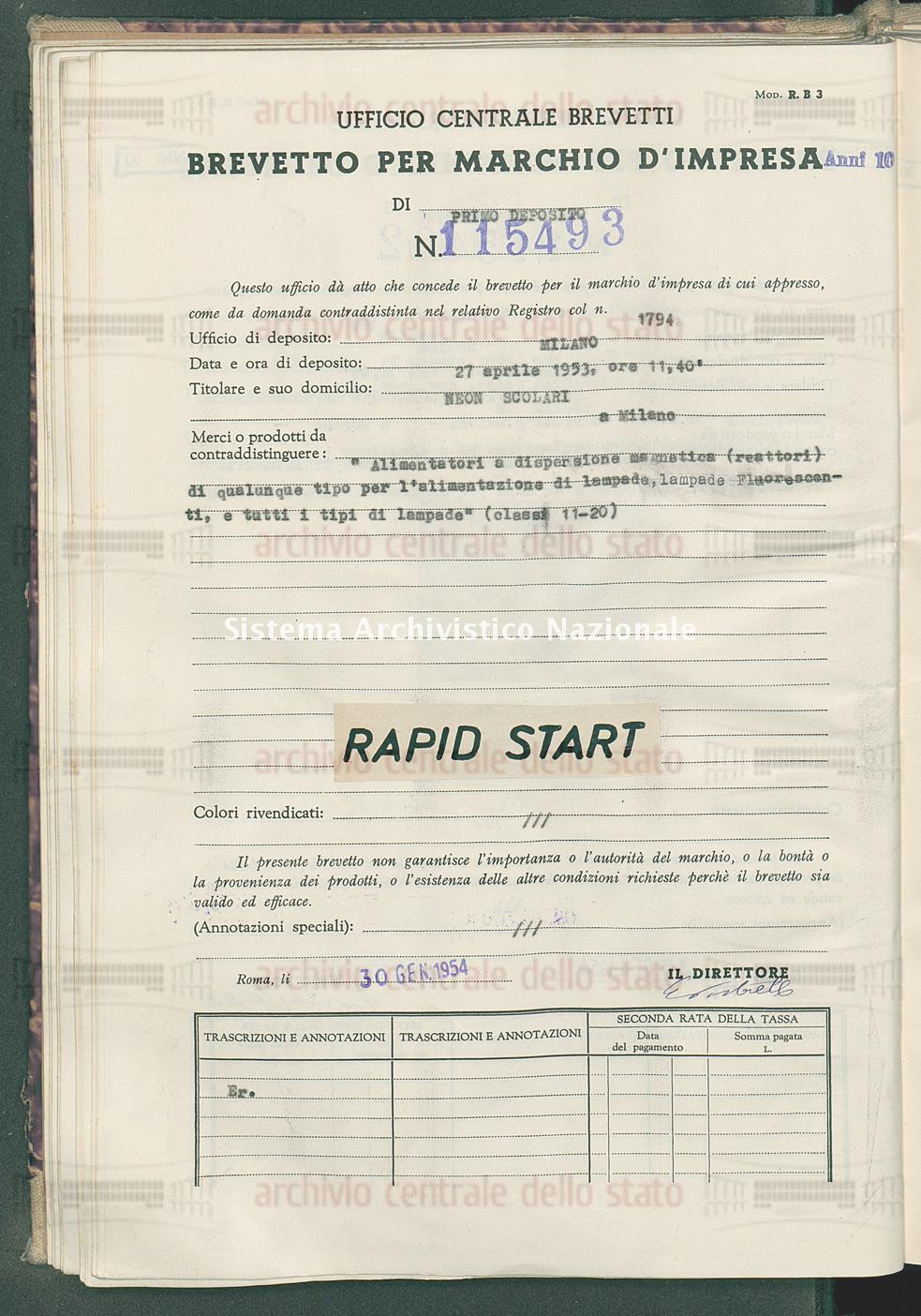 'Alimentatori a dispersione momatica(reattori) di qualunque tipo per l Neon Scolari (30/01/1954)